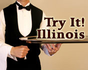 Image of a waiter holding a tray with the text Try It! Illinois