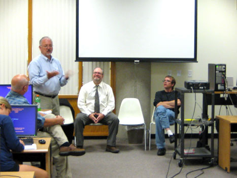 Photo from the whistleblower panel discussion, Ray Long talking.