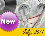Photo collage of books, CDs, and earphones with the text New July, 2011.