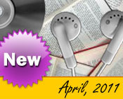 Photo collage of books, CDs, and earphones with the text New April, 2011.