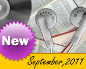 Photo collage of books, CDs, and earphones with the text New September, 2011.