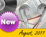 Photo collage of books, CDs, and earphones with the text New August, 2011.