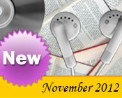 Photo collage of books, CDs, and earphones with the text New November, 2012.