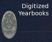 Closeup of a yearbook with the text Digitized Yearbooks.