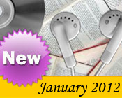 Photo collage of books, CDs, and earphones with the text New January, 2012.