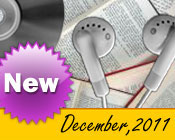 Photo collage of books, CDs, and earphones with the text New December, 2011.