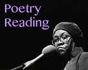 A photo of Gwendolyn Brooks in front of a microphone with the text Poetry Reading.