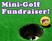 Photo of a golf ball about to go in the hole with the text Mini-Golf Fundraiser!