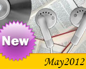 Photo collage of books, CDs, and earphones with the text New May, 2012.