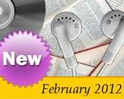 Photo collage of books, CDs, and earphones with the text New February, 2012.