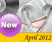 Photo collage of books, CDs, and earphones with the text New April, 2012.