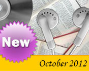 Photo collage of books, CDs, and earphones with the text New October, 2012.