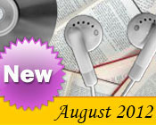 Photo collage of books, CDs, and earphones with the text New August, 2012.