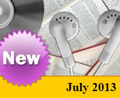 Photo collage of books, CDs, and earphones with the text New July, 2013.