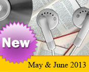 Photo collage of books, CDs, and earphones with the text New April, 2013.