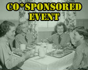 A photo of military women eating at a table during the 1950s with the text CO*SPONSORED EVENT.