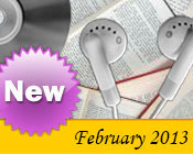 Photo collage of books, CDs, and earphones with the text New February, 2013.