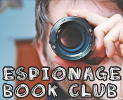 Photo of a guy looking through a tube with the text Espionage Book Club