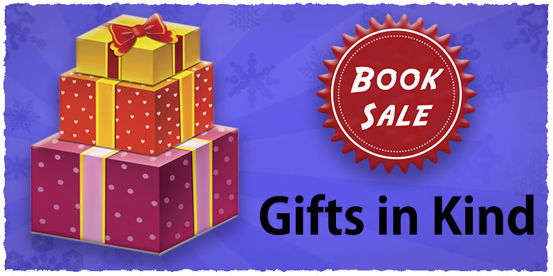 Image with graphic of presents and text Book Sale - Gifts in Kind.