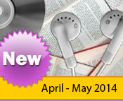 Photo collage of books, CDs, and earphones with the text New April - May, 2014.