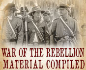 Photo of Civil War Reenactors and the text War of the Rebellion Material Compiled