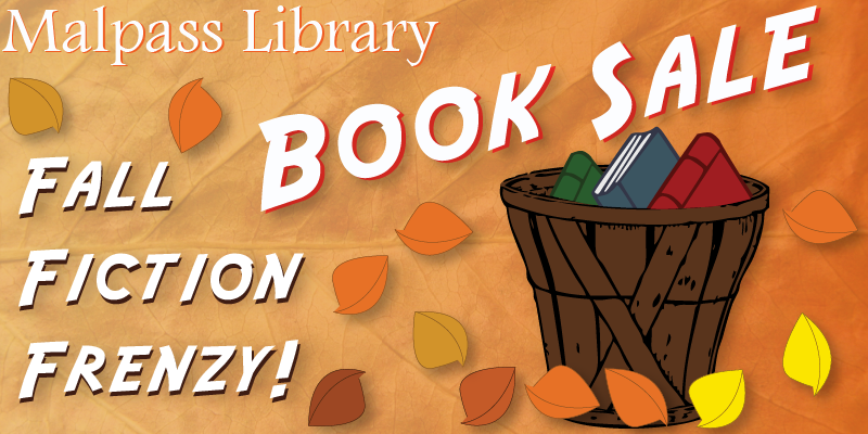 Illustration of books in basket with fall colors. Text about the event.