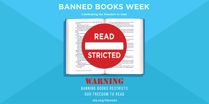 Book on blue background with restricted symbol on top warning about banned books