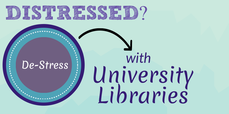 Graphic with text Distressed? De-stress with University Libraries
