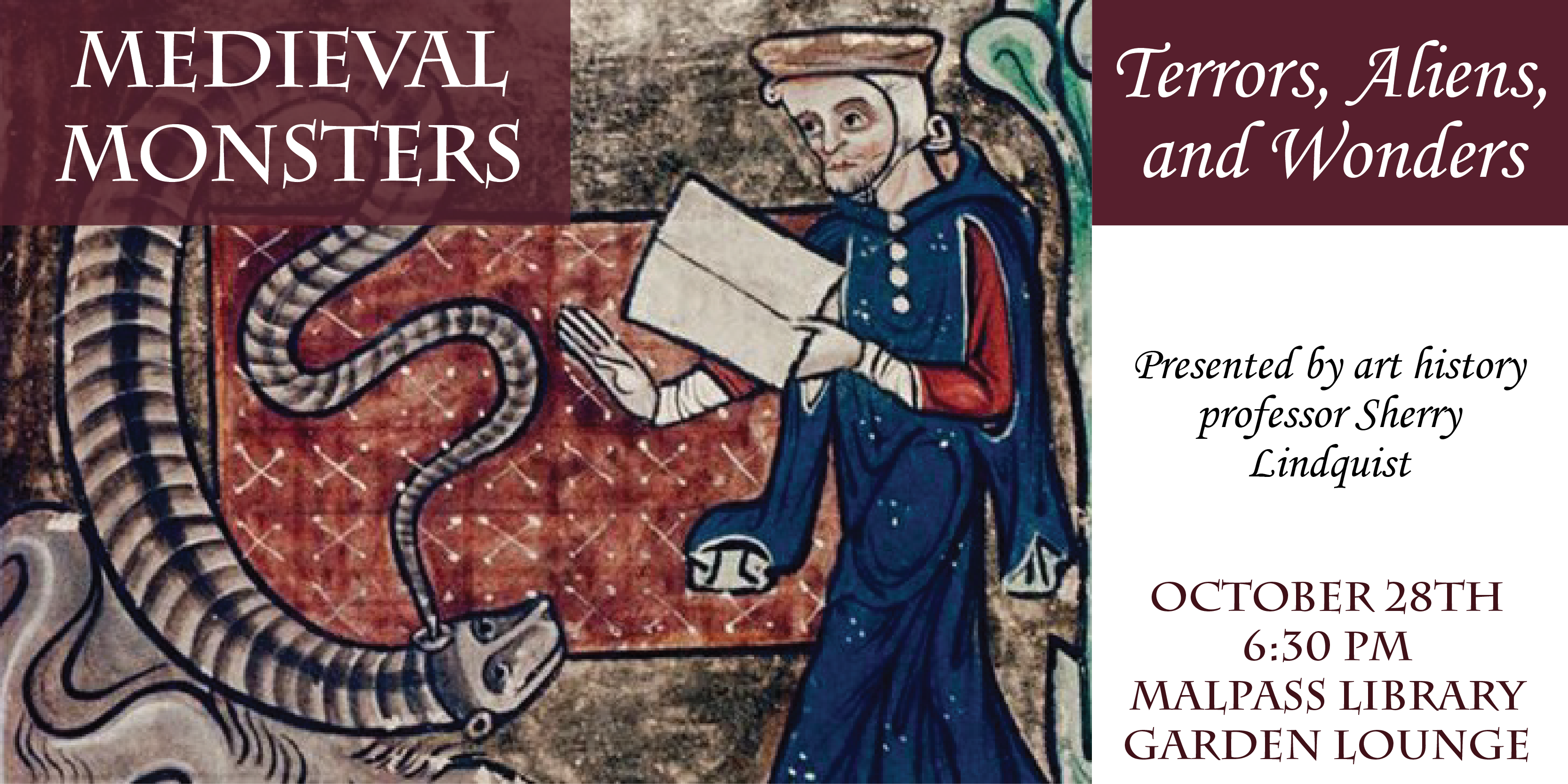 Artwork from medieval time period. Man holding a book with creature in foreground. Text about the event.