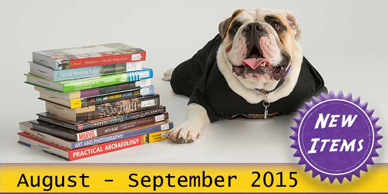 Photo of Col. Rock mascot with books with the text New August - September 2015.