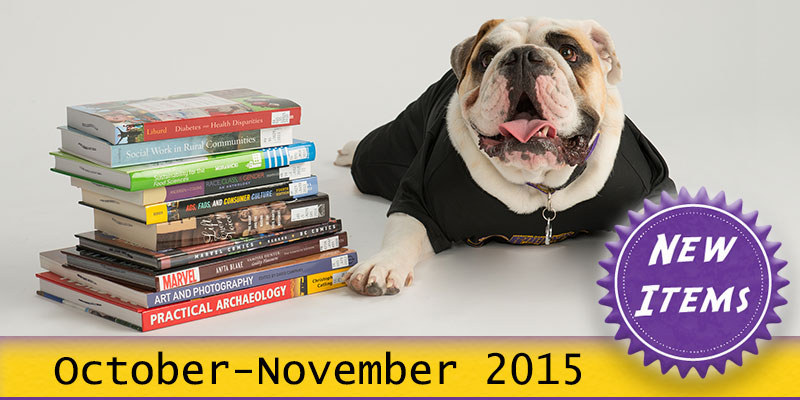 Photo of Col. Rock mascot with books with the text New October - November 2015.