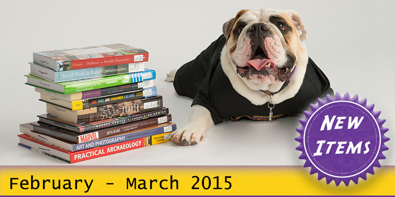 Photo of Col. Rock mascot with books with the text New February - March 2015.