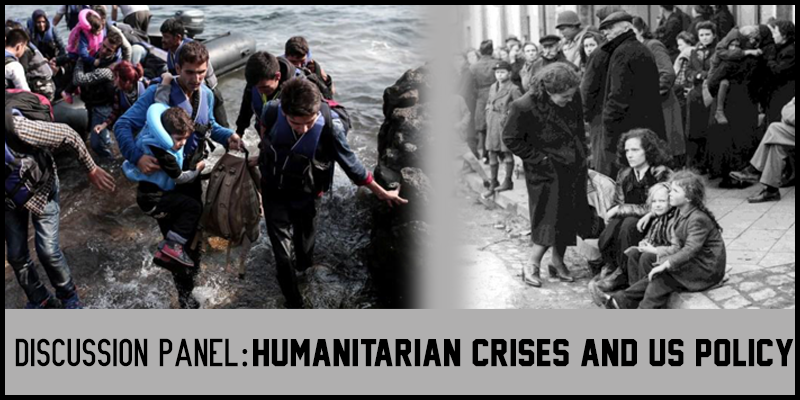 Two pictures side-by-side. The left is a picture of current refugees. The right is a black and white of previous refugees.