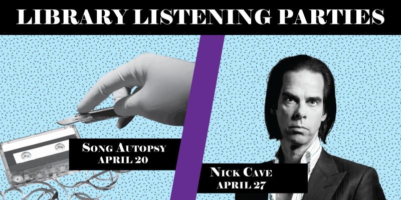 Split image with picture of hand and scalpel over a cassette tape for Song Autosy event. The right side has a photo of Nick Cave for that event.