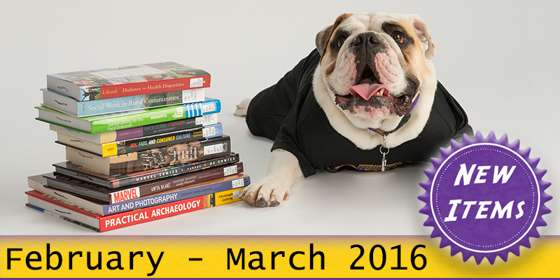 Photo of Col. Rock mascot with books with the text New February - March 2016.