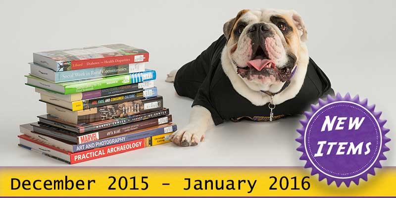 Photo of Col. Rock mascot with books with the text New December 2015 - January 2016.