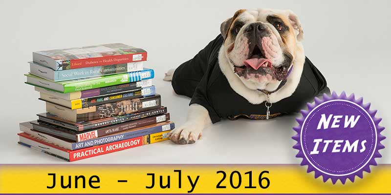 Photo of Col. Rock mascot with books with the text New June - July 2016.