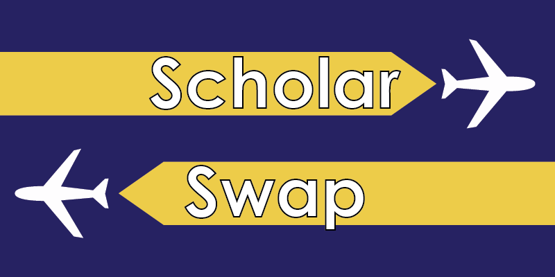 Graphic with two planes and the text: Scholar Swap