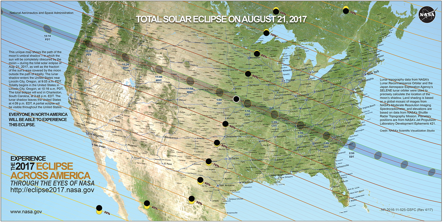 Map of the United States with a highlight of the path of the eclipse.