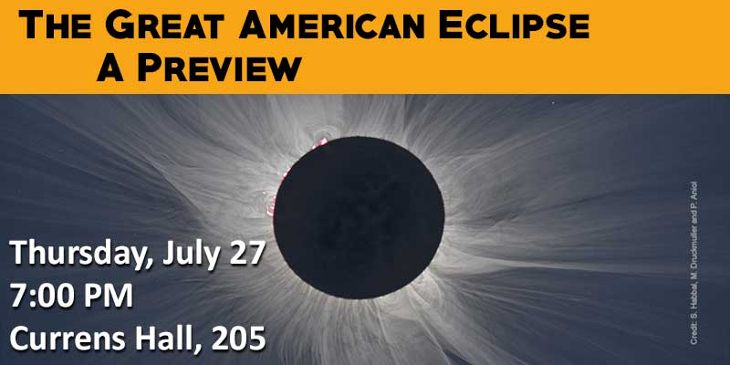 Picture of a solar eclipse with text about the event overlay.