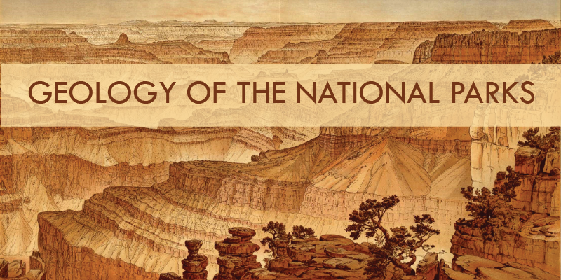 Sepia colored illustration of the grand canyon national park with text overlay.