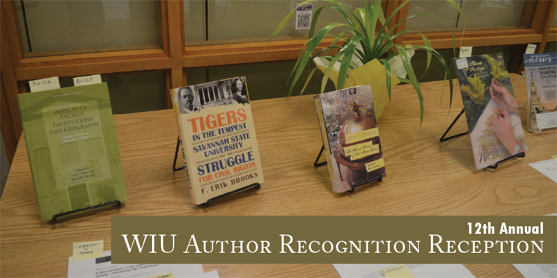 Picture of table with books and text overlay 12th Annual Authors Recognition Reception