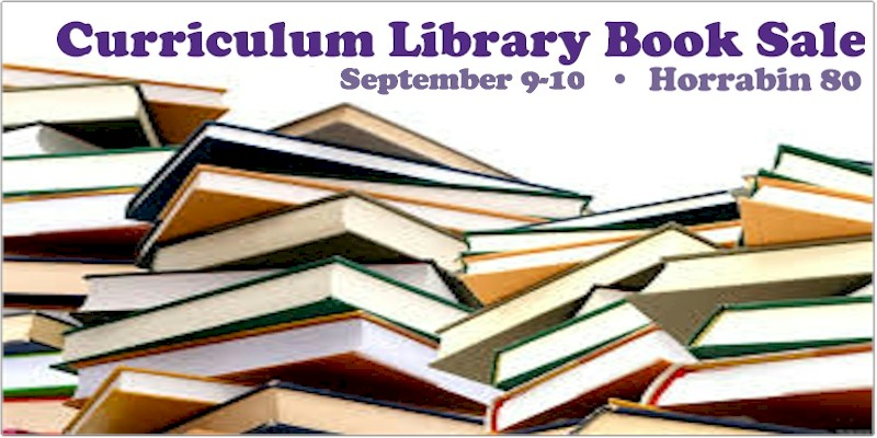Image of materials to advertise Curriculum Library sale.