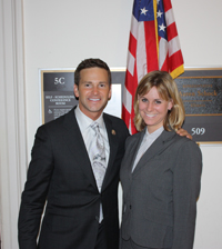 U.S. Representative Aaron Schock and agriculture major Ashley Mason.