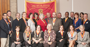Charter members of WIU's Eta Epsilon chapter of the Phi Beta Delta Internatinal Honor Society.