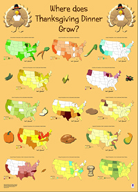 Librarian Linda Zellmer's poster showing where Thanksgiving foods are grown in the U.S.