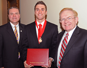 2009-10 Lincoln Laureate Matt Barr with VP for Student Services/Director of Athletics Tim Van Alstine and CBT Dean Tom Erekson.