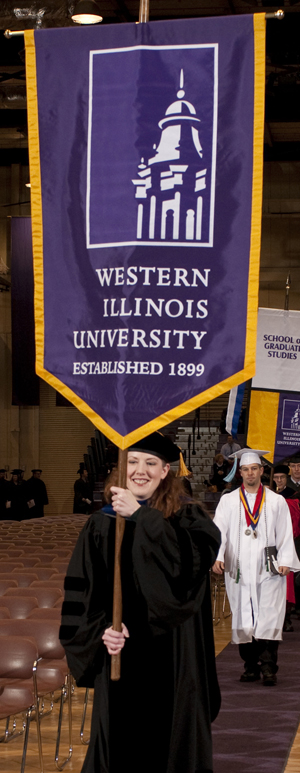 Associate Professor of History Jennifer McNabb leading the Fall 2009 Commencement procession.