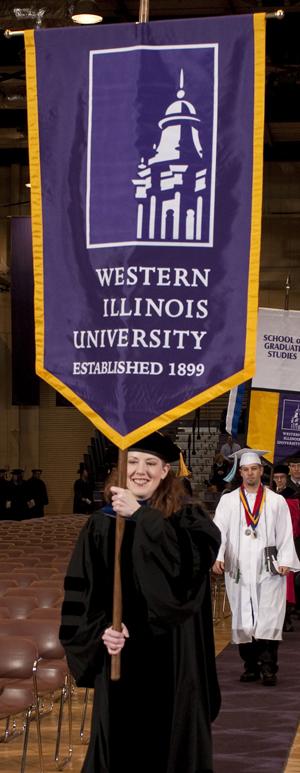 Associate Professor of History Jennifer McNabb leading the Fall 2009 Commencement procession.