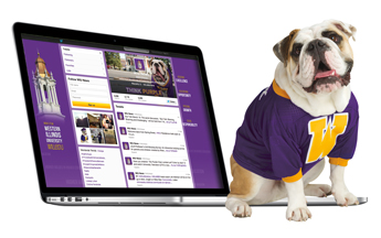 Colonel Rock sitting on Apple laptop with WIU's Twitter account loaded.